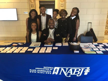 NABJ Student Rep. Kyra Azore and members of Columbia School of Journalism Association of Black Journalists
