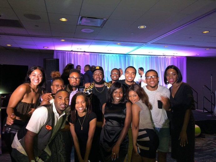NABJ Student Rep and students at the Miami Convention Kickoff Party
