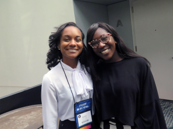 HUABJ President Sydney Williams and NABJ Student Rep Kyra E. Azore