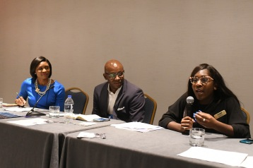 NABJ Student Rep speaking on a Training Day Panel